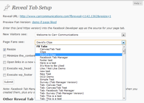 Facebook Tab Manager