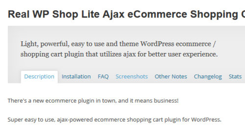 Real WP Shop Lite Ajax eCommerce Shopping Cart