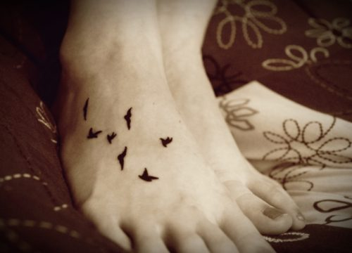 Blackbirds Tattoo on Foot