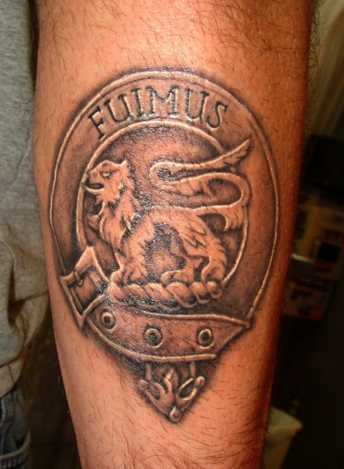 Family Crest Tattoo on Leg
