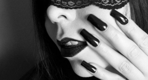 Black Nail Polish & Lipstick
