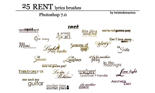25 Rent Text Brushes for Photoshop