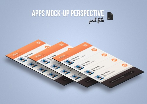 Free App Screen Mock-Up Perspective PSD