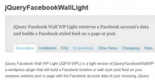 jQuery Facebook Wall Light