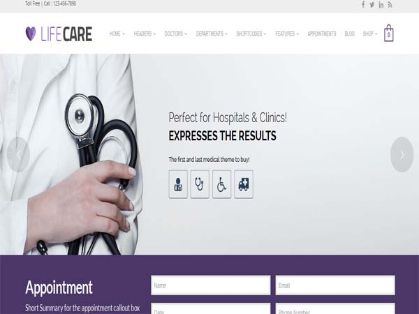 LifeCare - Medical WordPress Themes